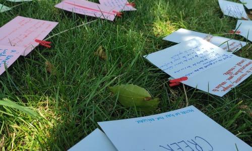 des feuilles annotées éparpillées sur l'herbe dans un parc au soleil entourées par un groupe de personnes en arrière-plan